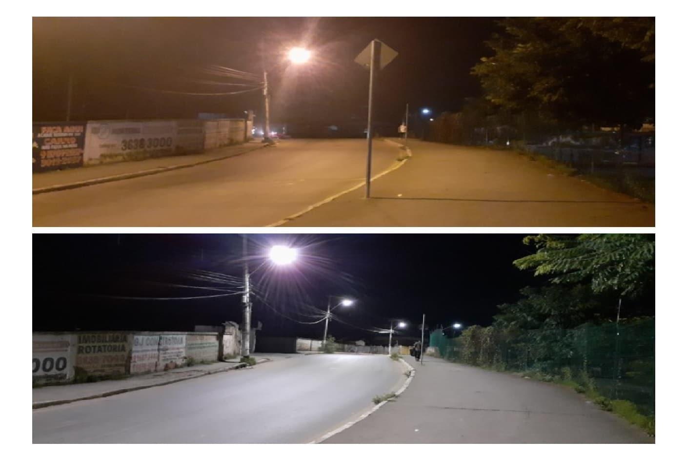 Antes e depois da nova iluminação IP Minas
